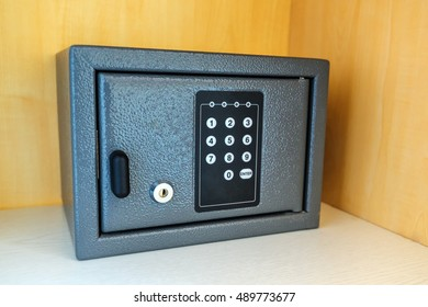 Vault or safe. Hotel room safety deposit box with electronic PIN lock code