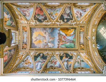 """The vault with """"The Ascension of Christ"""" by Cristoforo Casolani, in the Church of Santa Maria ai Monti, in Rome, Italy. April-08-2018"""