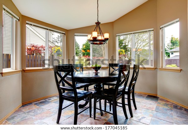 Vaulted Ceiling Dining Room Concrete Floor Stock Photo Edit Now 177045185