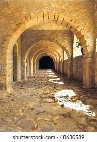 Vaulted tunnel of the ancient fortress