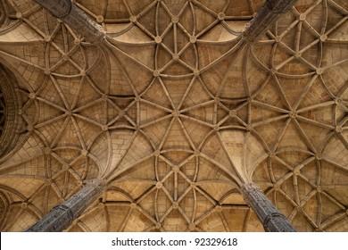 Vaults of the Jeronimos Monastery. Lisbon. Portugal