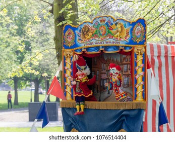 Vauxhall, London, UK; 21st april 2018; Closeup View of Traditional Punch and Judy Booth in Vauxhall Pleasure Gardens as Part of St Georges Day Celebration