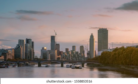Vauxhall riverside with during costructiing skyscrapesrs. Amazing sunrise, boats in thames river. Fantastic autumn mood. 2020 january 31. Brexit