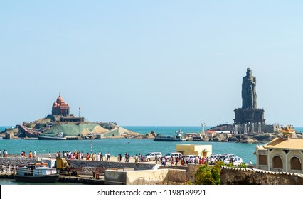 Vavathurai, Kanyakumari, India - January 20, 2012: Vivekananda Rock Memorial and Statue of Thiruvalluvar, Tamil poet and philosopher on small island in Laccadive Sea. Groups of tourists and pilgrims