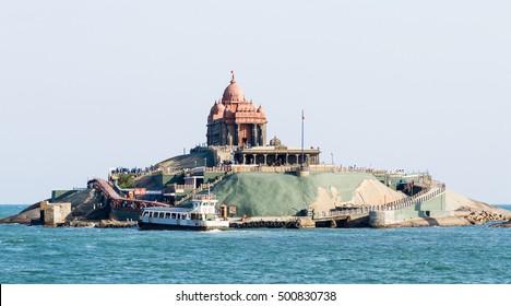 Vavathurai, Kanyakumari, India - January 20, 2012: Swami Vivekananda Rock Memorial on the small island in Laccadive Sea - a famous tourist monument at a sunny day in Vavathurai, Kanyakumari, India