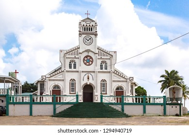 Vavau, Tonga - Jan 9 2014:  St. Joseph's Cathedral, the largest church in the town of Neiafu, Vava'u, Kingdom of Tonga, Polynesia, Oceania, South Pacific Ocean