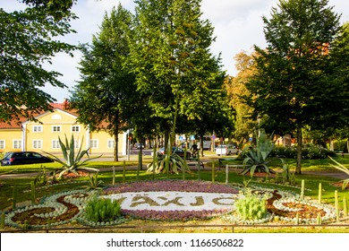 Vaxjo, Smaland/ Sweden: September 01 2016: The beautiful decorated roundabout with the name of the city written with succulent plants and flowers welcoming inhabitants and tourists in the city center