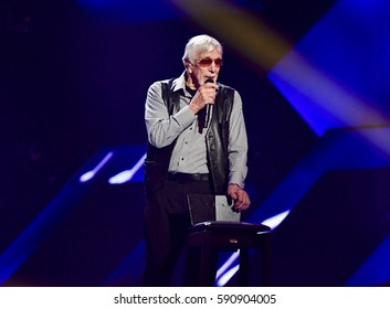 VAXJO, SWEDEN - FEBRUARY 17, 2017: Owe Thornqvist at the third semi-final of Melodifestivalen 2017 in Vaxjo.