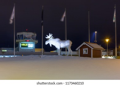 VAXJO, SWEDEN - JANUARY 19, 2018: Moose statue at the Vaxjo Smaland Airport in Sweden. this is an airport in southeastern Sweden, in the southern part of the province of Smaland.
