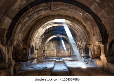 VAYOTS DZOR, ARMENIA - JUNE 17, 2017: Ancient caravanserai known as Orbelian's Caravanserai, with light beams, in Vayots Dzor, Armenia.