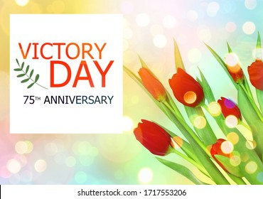 V-E Day 75th Anniversary 8 May  greeting card on against the colorful background, red tulips, sunrays and boke, Victory in Europe Day greeting card