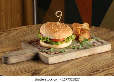 Burger On Wooden Plate Hd Stock Images Shutterstock