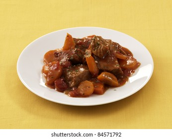 Veal and carrot stew in tomato sauce