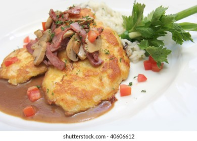 veal piccatta with risotto rice