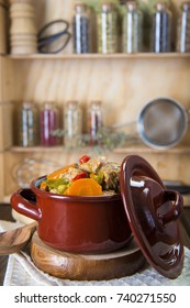 Veal ragout a dish with meat and vegetables in a porcelain casserole