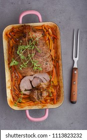 Veal rolled roast with herbs filling