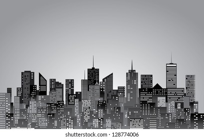 vector abstract city skylines in black and white