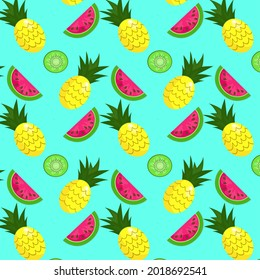 Vector background of watermelon, pineapple, kiwi. Seamless pattern of watermelons, pineapples, kiwis. Vector background. Cute seamless vector pattern with watermelons, pineapples and kiwis. - Shutterstock ID 2018692541