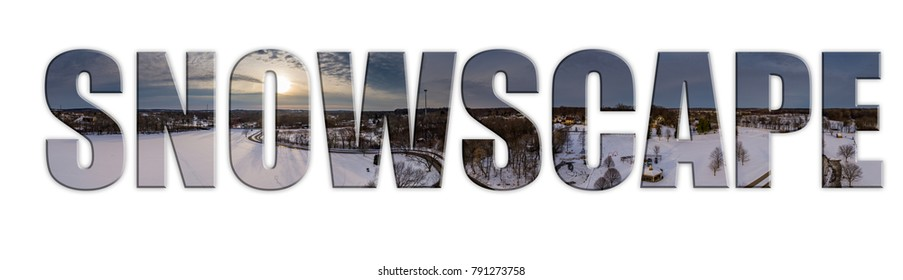 a vector or graphic of a snowy landscape inlaid into text
