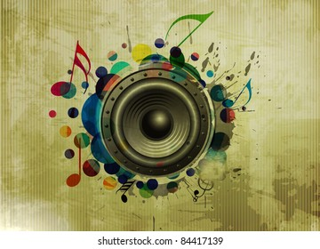 Vector grunge texture background, music speakers design - Shutterstock ID 84417139