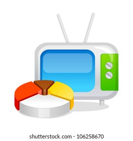vector icon television and pie graph