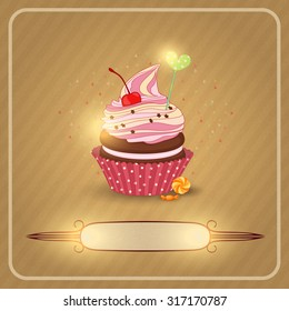 Vector illustration air fruit cream on the cupcake. The image on the texture of a cake.