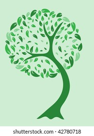 A vector illustration of a beautiful tree in green tones