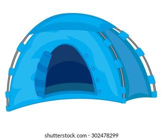 Vector illustration of the blue tent in desert amongst cactus.