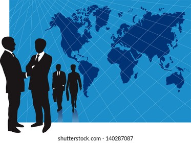 Vector illustration of business presentation background for slides with groups af business men and woman in front of a large world map