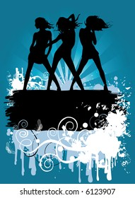 Vector illustration with dancing girls, eroded retro background, just ad your own text