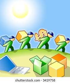 Vector Illustration: Delivery Service in Process. Abstract Working People. Cube & Men Concept Cover Design