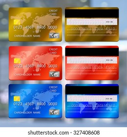 Vector illustration of detailed credit cards on abstract background