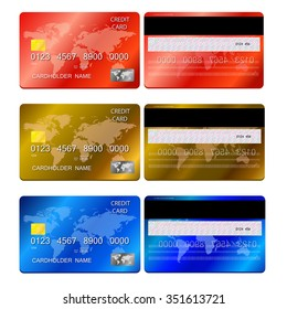 Vector illustration of detailed credit cards, isolated on white