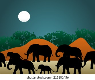 Vector illustration of a family of elephants walking through the jungle in the night.