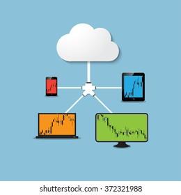 Vector illustration - Flat background - Database - server - information transfer - Global storage