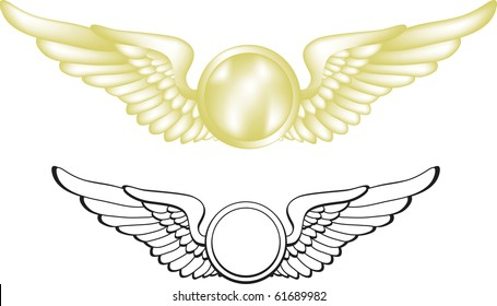 A vector illustration of gold pilot wings. Two versions are included.