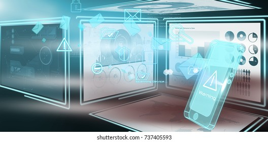 Vector image of business diagrams against security interface in 3d