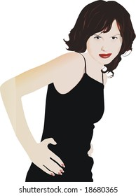 The vector image of the young girl of the brunette.