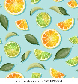 Vector seamless pattern with lime and lemon on blue background - Shutterstock ID 1951825504