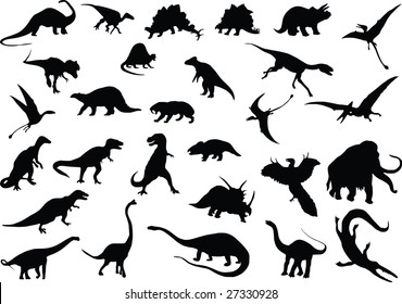 Vector silhouettes of dinosaurs and other prehistoric animals