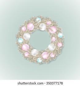 Vector silver Christmas wreath or garland with Christmas balls