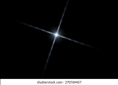 Vector star, sun with lens flare on dark background