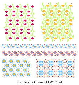 Vector textures and trims collection with flowers and hearts