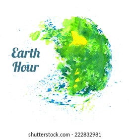 Vector watercolor Illustration for Earth Hour annual international event, held in the last Saturday of March