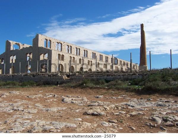 Veduta della vecchia Fornace Penna, a Sampieri (Sicilia). View of Old Penna's Kiln, Sampieri, Sicily.