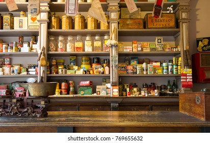 Veendam, The Netherlands - April 25, 2017: A vintage store filled with old products in Veendam, the Netherlands on april 25, 2017.