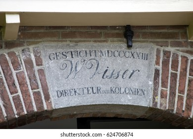 VEENHUIZEN, NETHERLANDS -  MAY 21, 2016.Memorial Stone above entrance National Prison Museum.
