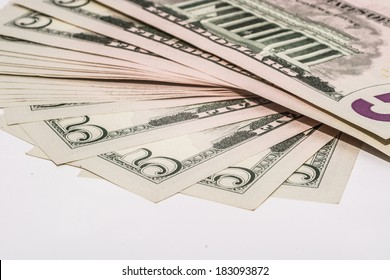 Veer of five Dollar bills, super macro photography