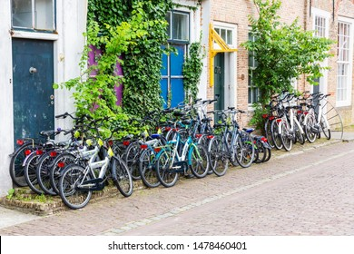 Veere, Netherlands - June 09, 2019: bicycle rental in Veere. Veere is famous for its picturesque old town and a popular destination for day tripper