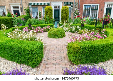 Veere, Netherlands - June 09, 2019: frontyard in Veere. Veere is famous for its picturesque old town and a popular destination for day tripper